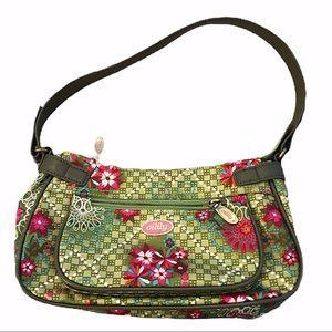 Oilily Green/Pink Floral Print Shoulder Bag